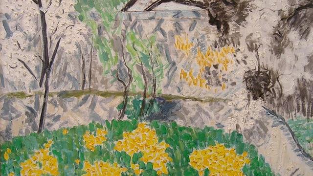 Auf dem Bild sieht man ein Gemälde des Künstlers Hans Berger, das eine frühlingshafte Landschaft zeigt.