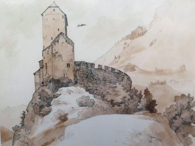 Aquarell des Schloss Sargans.