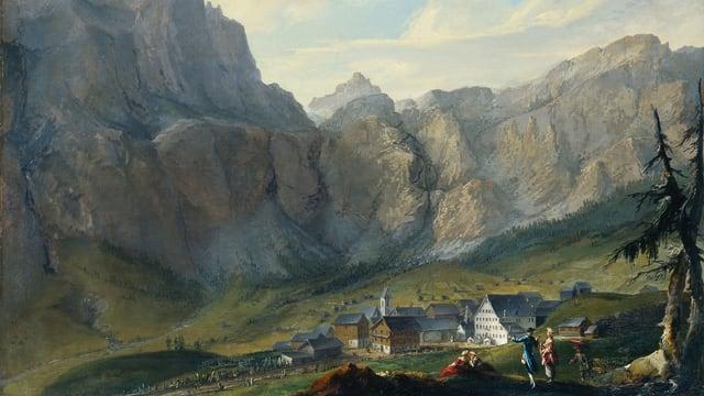 Caspar Wolf, Leukerbad mit den Felswänden der Gemmi.