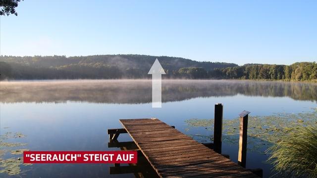 """Ein Pfeil verdeutlicht, wie die Nebelschwaden aus dem See in die Höhe steigen. Sogenannter """"Seerauch""""."""