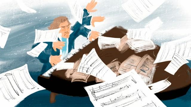 Illustration: Beethoven mit wild herumgeworfenen Armen am Klavier, Notenblätter fliegen durch die Luft