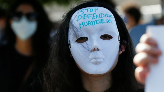 Demonstrantin in Amman, 22. Juli 2020