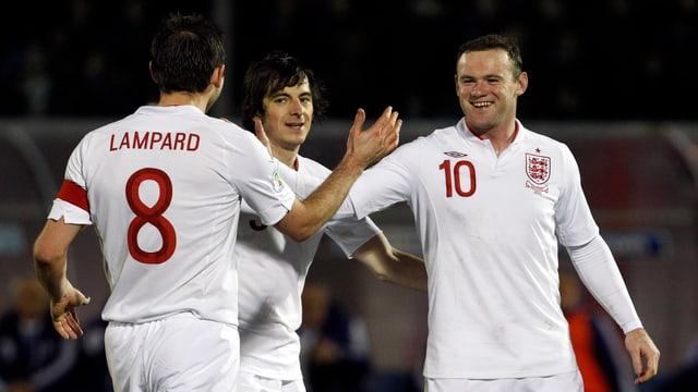 Können sich Frank Lampard, Leighton Baines und Wayne Rooney beim Jubiläum abklatschen?