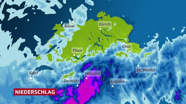 Karte der Schweiz mit den NIederschlagsmengen bei solchen Wetterlagen.