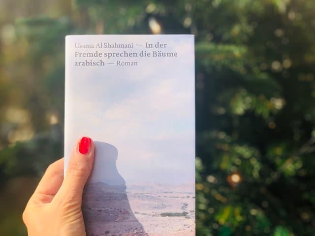 Das Buch Usama Al Shahmani: «In der Fremde sprechen die Bäume arabisch» vor einem Weihnachtsbaum