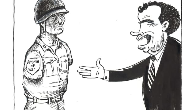 Präsident Nixon möchte einem Soldaten ohne Arme gratulieren.