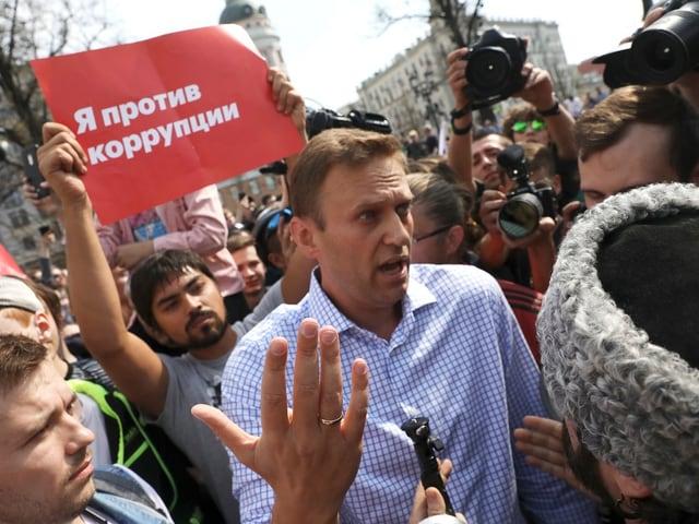 Alexej Nawalny an einer Demonstration in Moskau, Russland.