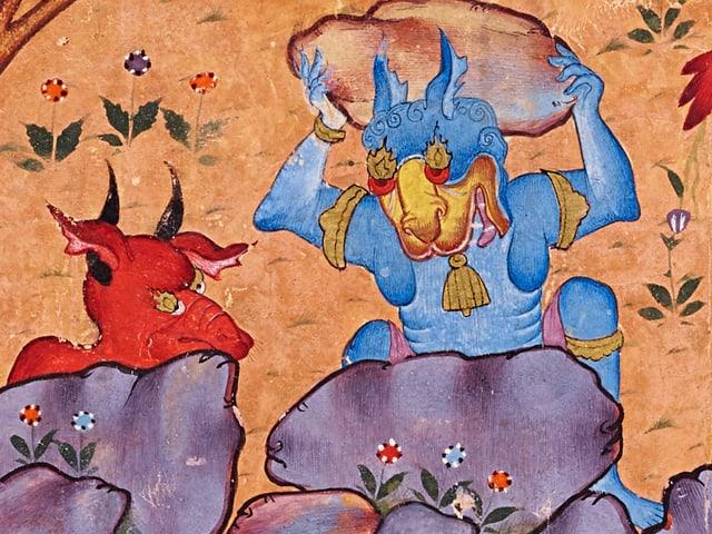 Ein roter und ein blauer Dämon mit Hörnern