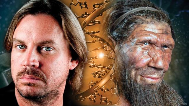 Fotomontage von einem Homo Sapiens, der DNA-Doppelhelix und einem Neandertaler.
