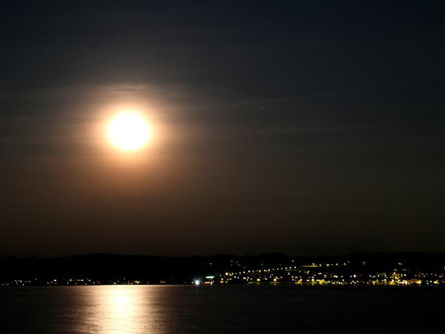 Der Vollmond beleuchtet den Murtensee.