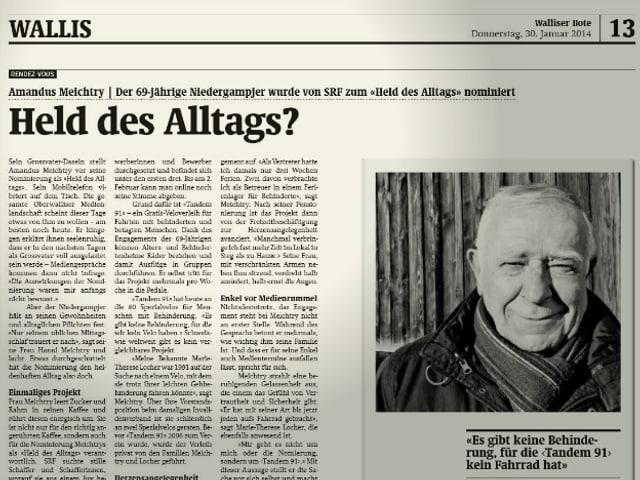 Zeitungsausschnitt «Walliser Bote».