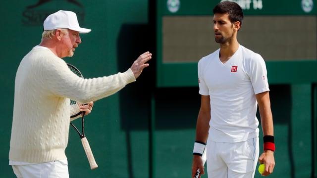 Boris Becker und Novak Djokovic.