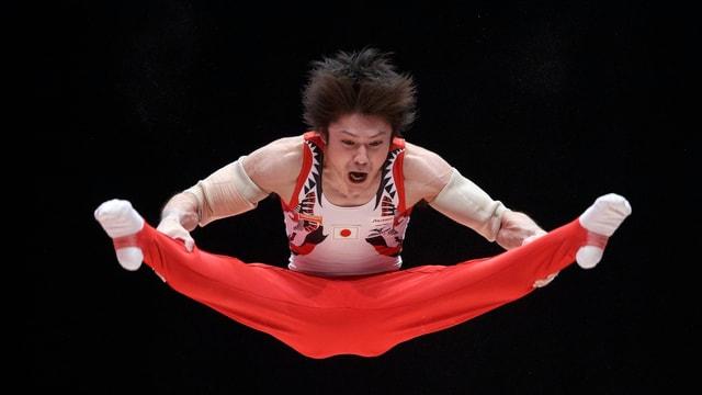 Uchimura während einer Übung.