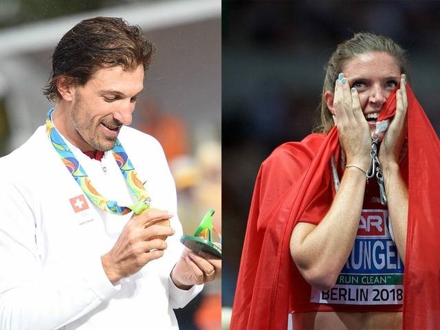 Cancellara (l.) und Sprunger nach ihren Erfolgen.