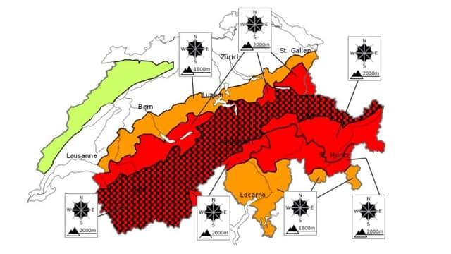 Gefahrenkarte des Instituts für Schnee- und Lawinenforschung SLF.