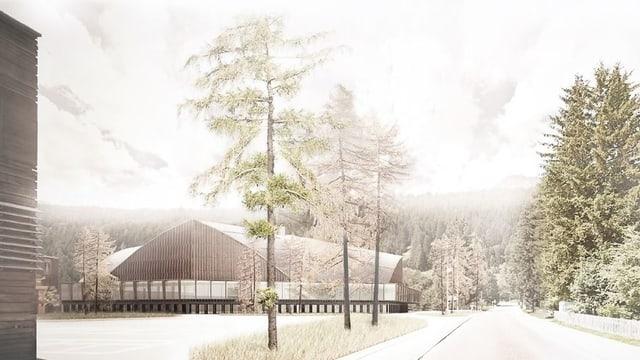 Visualisierung der Eishalle.