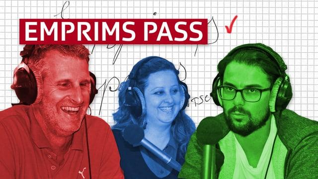 Ina visualisaziun da las persunas Stefan Tscharner en cotschen, Marina Blumenthal en blau e Danilo Bavier en verd.
