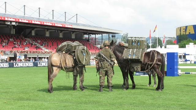 Soldaten beladen zwei Pferde.