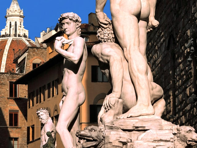 Statuen auf dem Piazza della Signoria in Florenz.