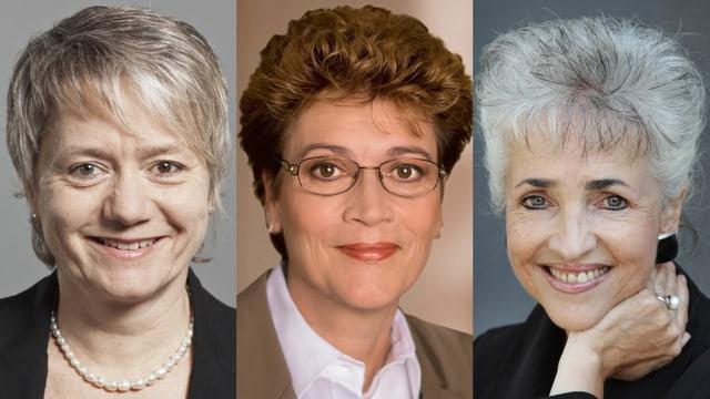 Porträts von Jacqueline Fehr, Silvia Steiner und Carmen Walker Späh