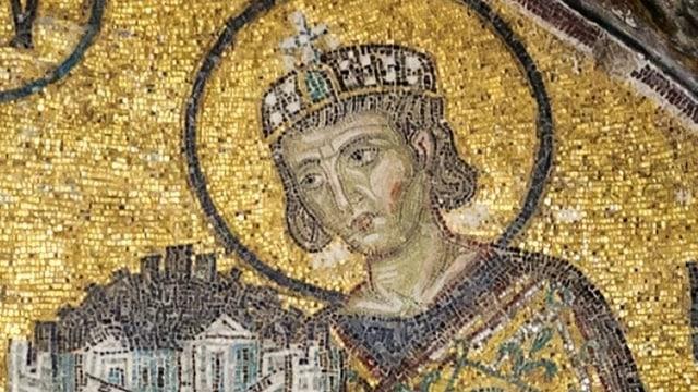 Kopf der Statue von Konstantin dem Grossen.