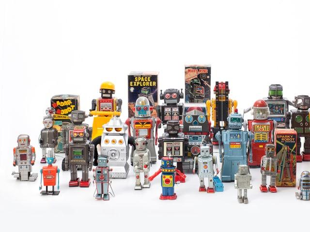 Historische Spielzeugroboter, von 1956 bis 1980 aus einer Privatsammlung.