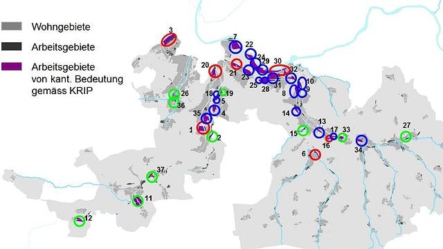 Baselbieter Karte mit Entwicklungsgebieten