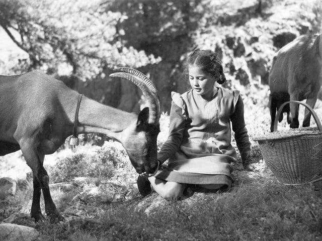 Mädchen sitzt im Gras und füttert eine Ziege-