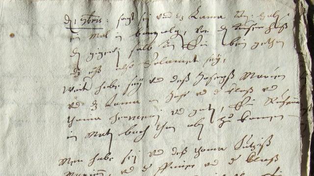 Kaum leserliche Schrift auf altem Papier.