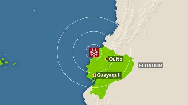 Das Zentrum des Bebens lag 173 Kilometer von Quito entfernt.