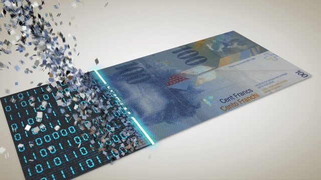 Geldnote, die sich in digitalen Symbolen auflöst.