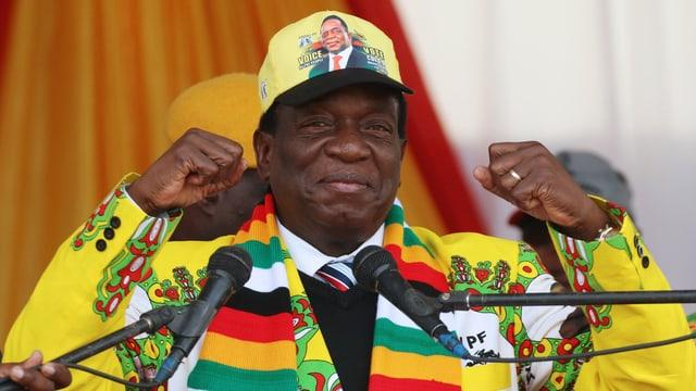 Emmerson Mnangagwa bei einem Wahlkampfauftritt.