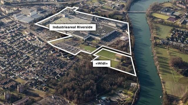 Auf der Luftaufnahme ist zu sehen, dass das Widi-Areal angrenzt an das Industrieareal. Rechts davon verläuft die Aare.