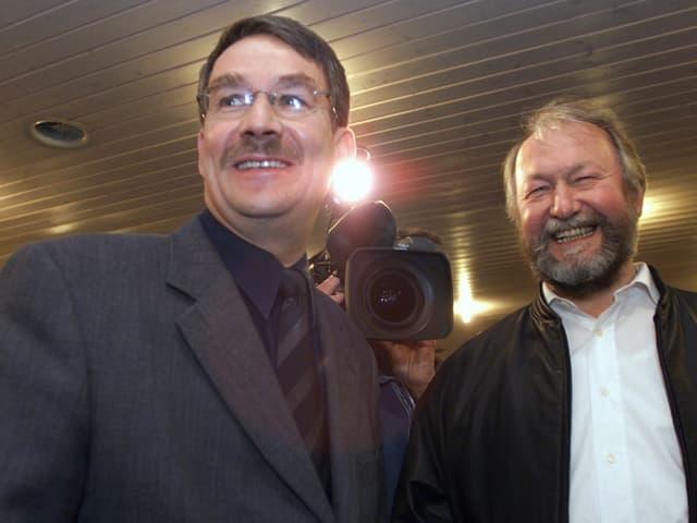 Schwaller und Corminboeuf lachen.