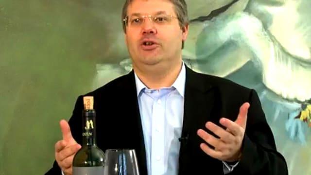 Master of Wine, Philipp Schwander, referiert vor einer grünen Tapete.