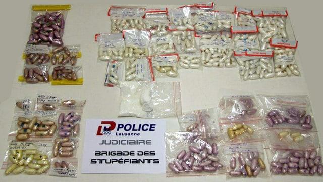 Fingerlinge aus Kokain verpackt in Plastsäkli.