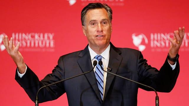 Mitt Romney an einer Rede in Salt Lake City, Bundesstaat Utah. (reuters)