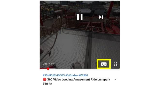 Ein VR-Brillen-Video in der Youtube-App