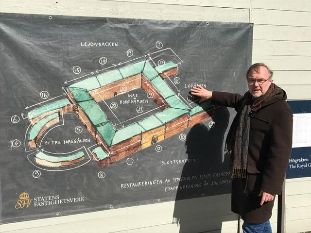 Schlossarchitekt vor Übersichtsplan zu Renovationsarbeiten