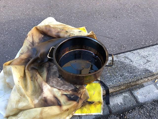 Die Pfanne, die den Brand auslöste.