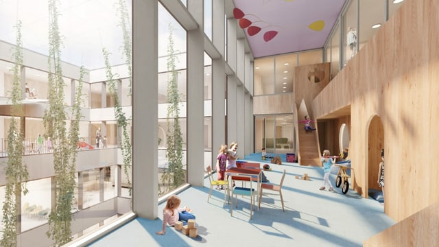 Kinder spielen im Aufenthalts- und Spielraum im Kinderspital - Visualisierung.