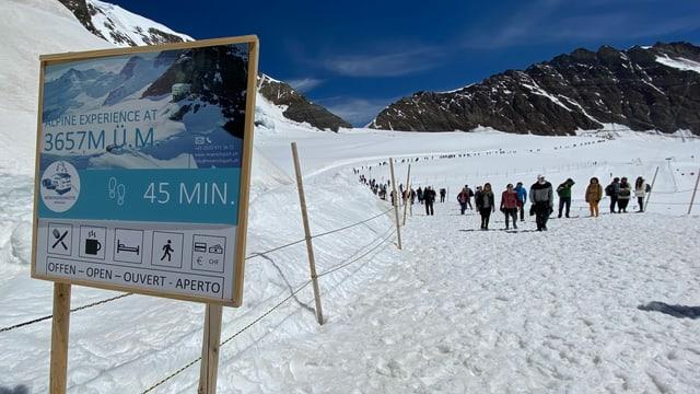Schneelandschaft, viele Leute auf einem Schneewanderweg.