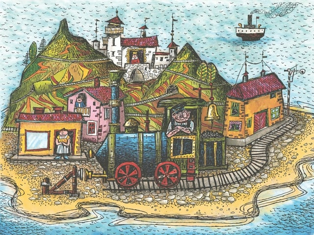 a colorful drawing of an island and a man with a locomotive in the foreground