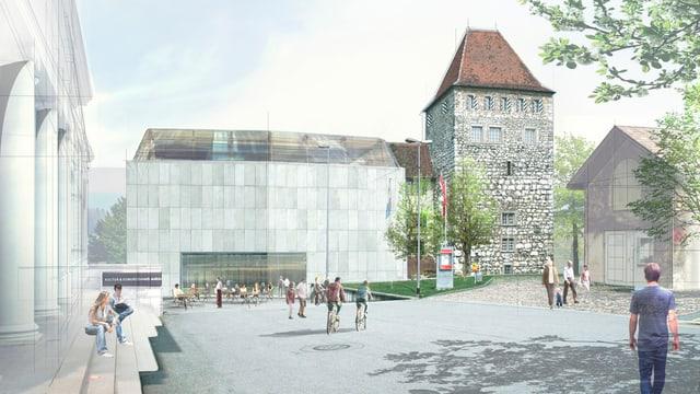 Skizze des Neubaus: Ein kubischer Glasbau rechts des historischen Schlössliturmes.