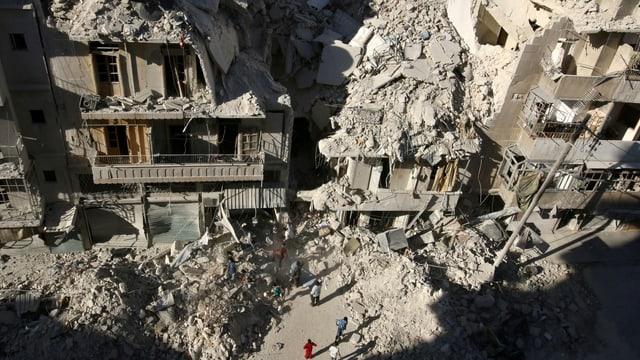 Stark zerstörte Häuser in einer Strasse von Aleppo von oben fotografiert, auf der Strasse Trümmer und Menschen.