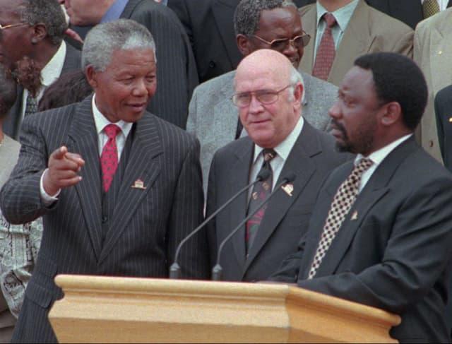 Nelson Mandela, Willem de Klerk und Cyril Ramaphosa
