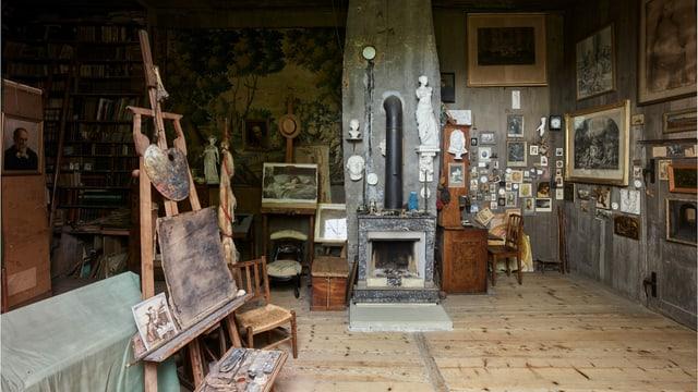 Atelier von Albert Anker mit Bildern, Statuen
