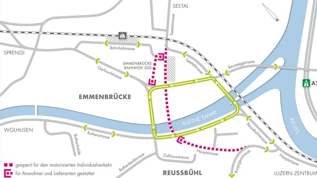 Grafik zur Verkehrführung für den motorisierten Individualverkehr am Seetalplatz in Emmen.