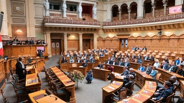 Ils novs parlamentaris en la sala dal Cussegl naziunal.