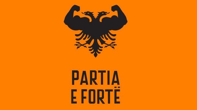 Ein Parteilogo auf Orange